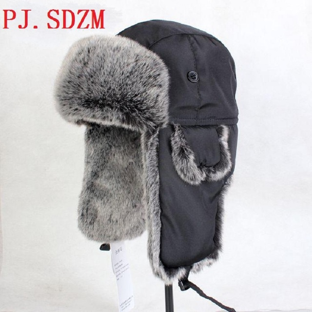 22c63379ff3bb SDZM Man Russian Outdoor Hats Fur Motorcycle Flight Bomber Hats New Knitted  Ski Hat