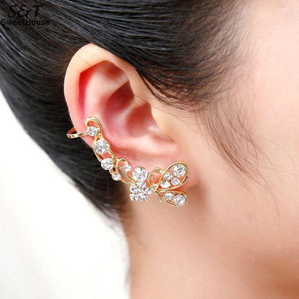 FANALA Stud Earrings Crystal with Crystal Stylish Butterfly Rhinestone Unilateral Push Back Stud Earrings Women gold earrings for women