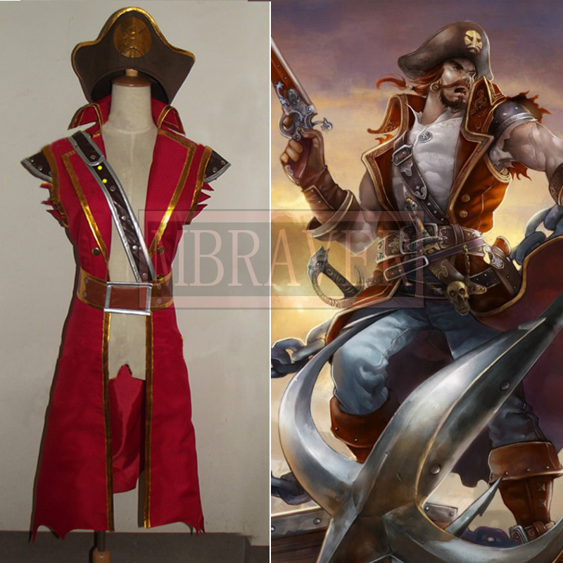 Game LOL Cosplay Costume LOL Captain Gangplank Cosplay Costume Gangplank Cosplay Dress Halloween Costume Custom Made Any Size