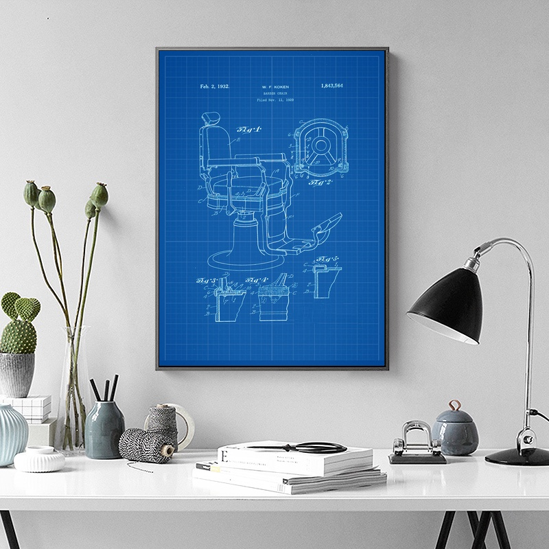 Barber Chair Patent Print Barber Art Abstract Vintage Wall Art Paint Wall Decor Canvas Prints Canvas Art Poster No Frame ...