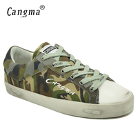 CANGMA Brand Womens Casual Shoes Platform Sneakers For Girls Breathable Camouflage Green Handmade Canvas Shoes Flats