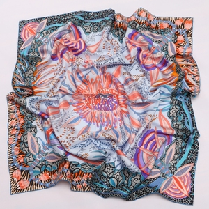 Image 5 - Phong Cách cao cấp Họa Tiết VUÔNG 100% Lụa Hai Dây Khăn Len Nữ Đầu Khăn Hijab Khăn Choàng Foulard 88*88cm