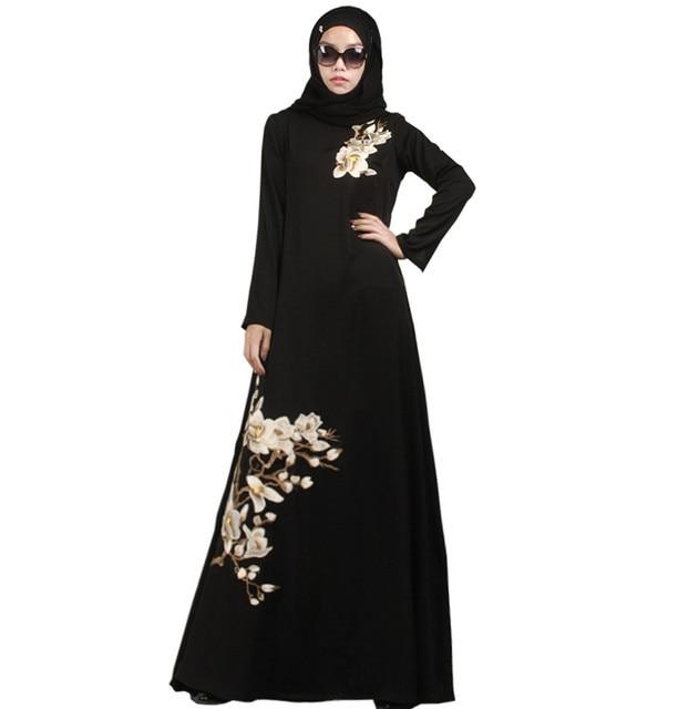 2016 Мода Мусульманская Абая Дубай Абая Джилбаба Исламская Одежда Для Женщин-Мусульманок Djellaba Мусульманского Платье Печати Хлопка абая