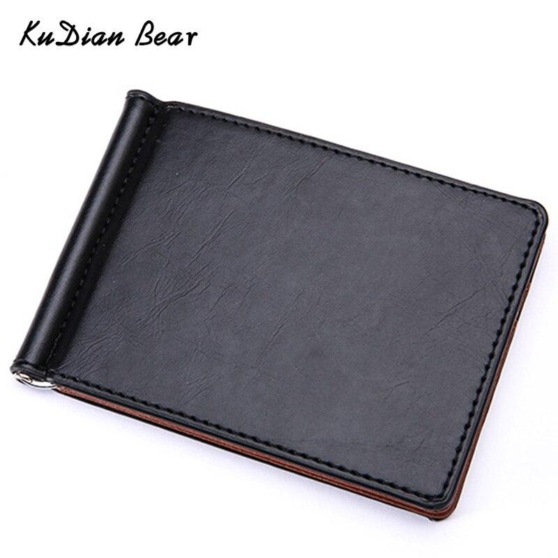 KUDIAN BEAR Leather Men Money Clip Wallet Mental Clip Rfid Slim Clamps Minimalist Purse carteras Minimalista-BID196 PM49
