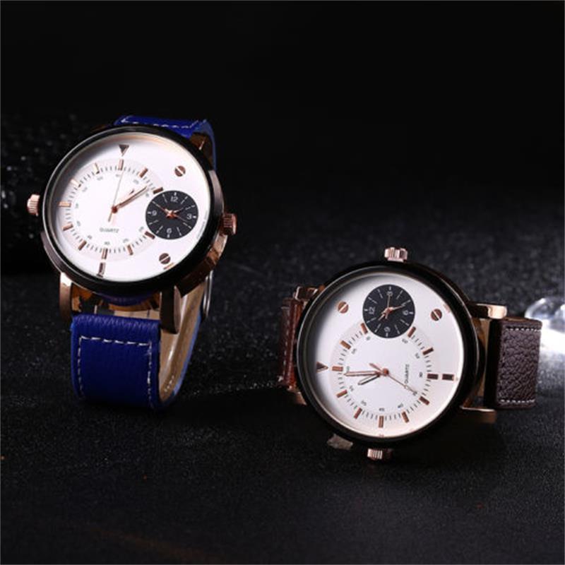 Double Display Leather Watch Men Fashion Sports Quartz Watch Dial Wristwatches