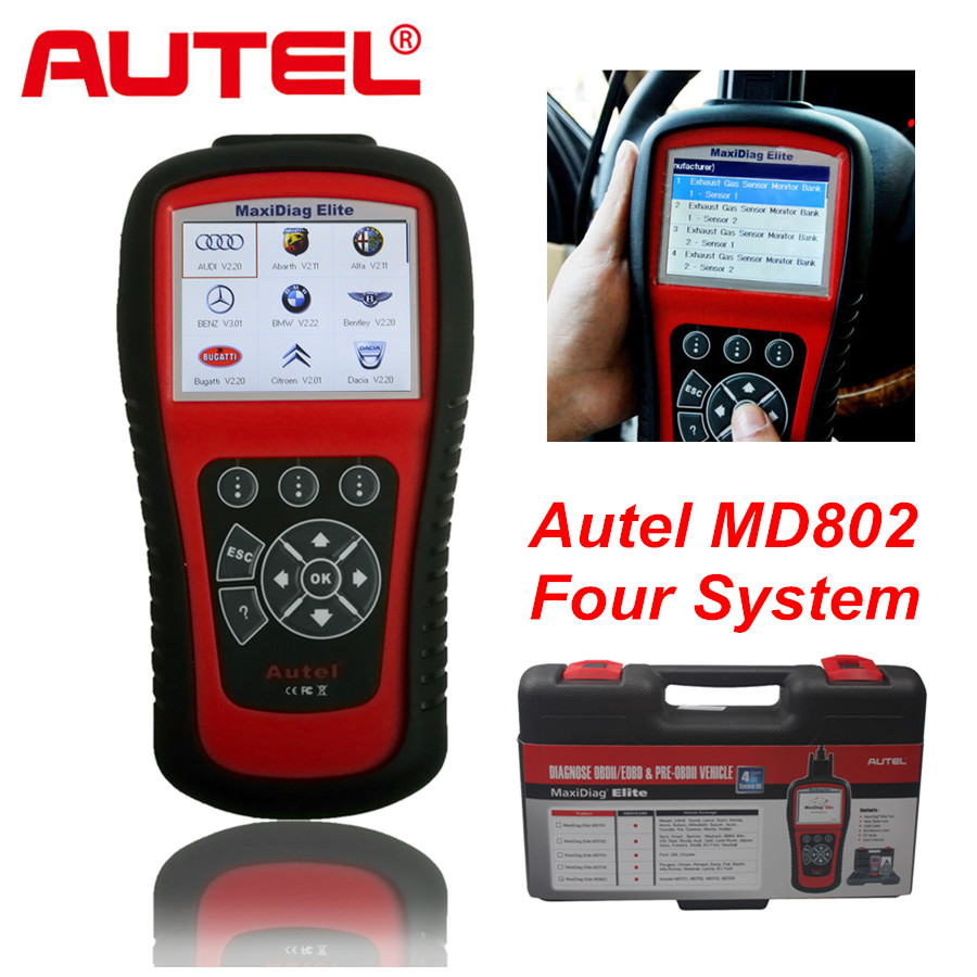 AUTEL MaxiDiag Elite MD802 for 4 System With Data stream Model Engine Transmission ABS and Airbag