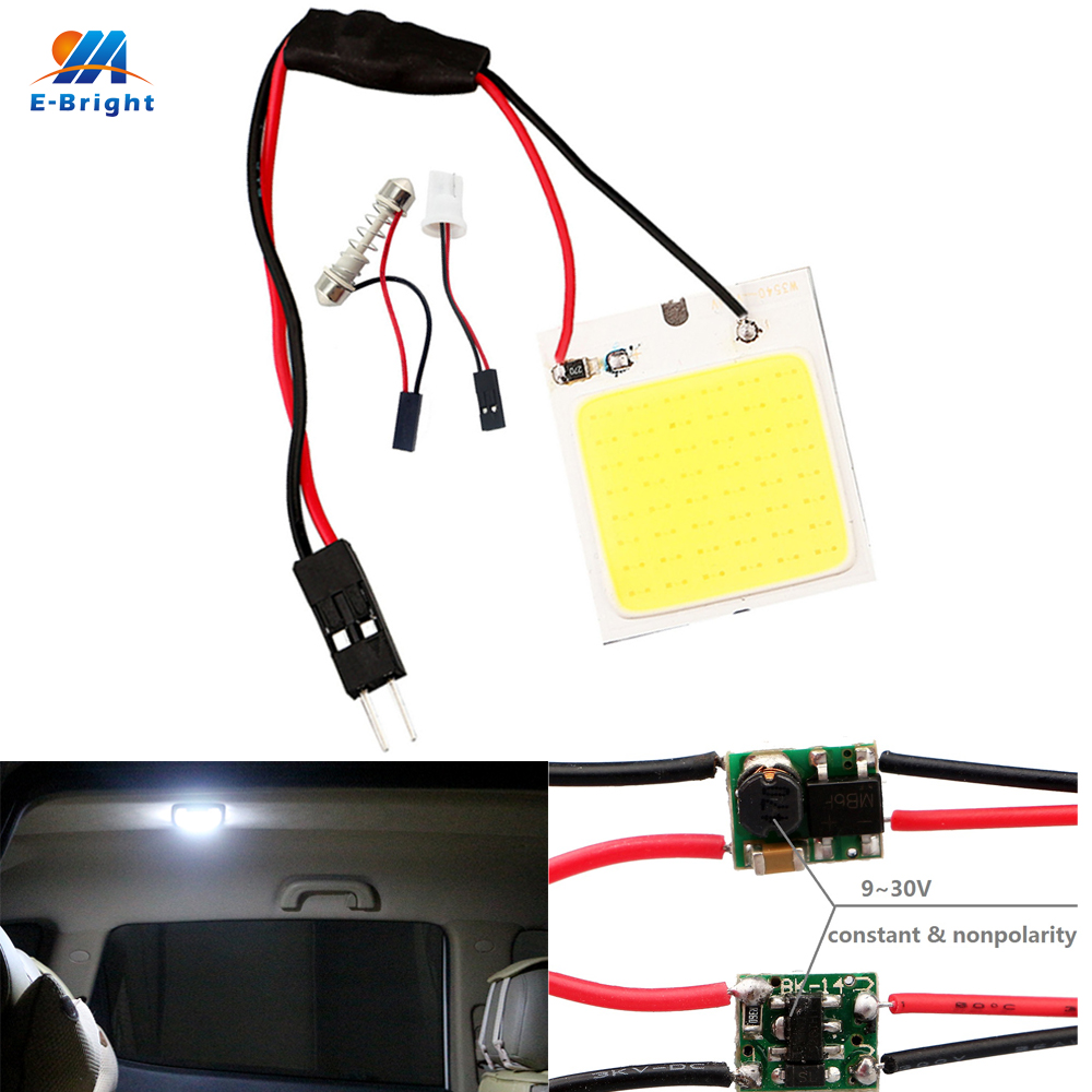 YM E-Bright <font><b>10</b></font> PCS COB 48 LED Car LED Light 12V 24V 48 <font><b>SMD</b></font> Panel Interior Lamps With <font><b>T10</b></font> + Festoon Adapters image