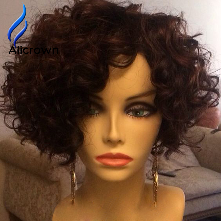 Short Lace Front Wigs Human Hair Alicrown Brazilian Curly ...