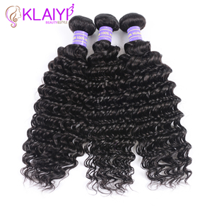 Image 4 - Klaiyi Hair Brazilian Deep Wave Bundles With Closure Free Part Human Hair Bundles With Closure Dark Black 4pcs Remy Hair Weaves