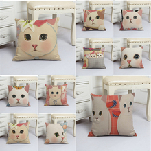 Big Head of Cats Printed Cute Animals Cushion Cover 45x45cm Linen Round Eyes Throw Pillow Covers Lovely Pillowcases Decorative