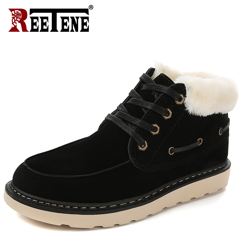 REETENE New Hard-Wearing Lace Up Men Boots Hot Sale Warm Winter Men'S Boots Flock Comfortable Fur Casual Shoes Men Snow Boots reetene 2018 new fashion genuine leather men ankle boots warm winter snow boots men lace up men shoes fur men s snow boots