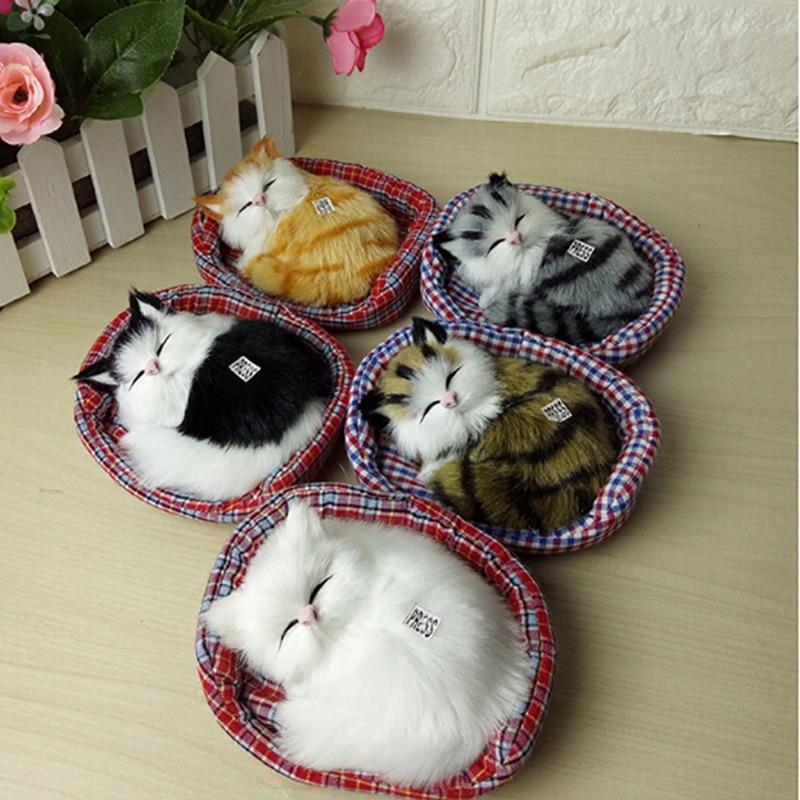 2018 Design Kawaii Simulation Sounding Sleeping Cats Plush Toy With Nest Children's Favorite Birthday Christmas Gift B0934