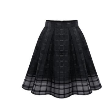 1pcs/lot free shipping european style woman organza solid skirt  ball gown pleated solid skirt black white