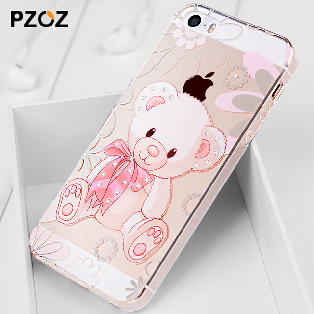 For iphone 5se case Rhinestone glitter silicone cover original For iphone 5 s luxury 3D cute cartoon Shell ipone 5s