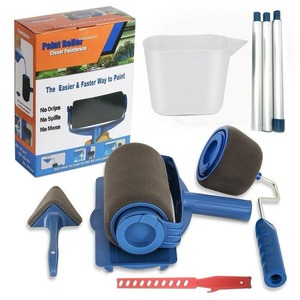 2 набора роликовых роликов для рисования краски, набор для рисования стен, набор кистей с ручкой, инструмент для комнаты, дома, сада + удлинит...