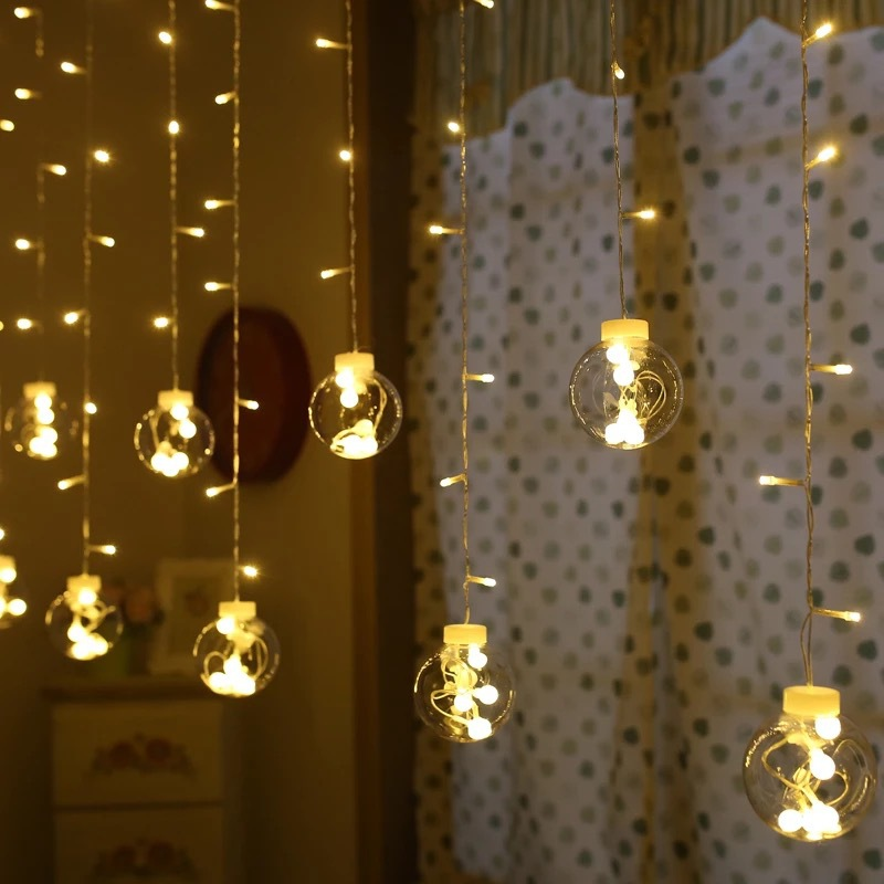 LED String Lights Ball Curtain String Fairy Light Backyard Patio Decorative Outdoor Garland Wedding Party Christmas Decor Lights solar string lights 50 led blossom flower fairy light christmas lights for outdoor led garland patio party wedding decoration