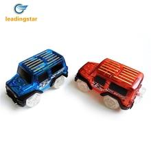 LeadingStar 2 stuks kinderen LED elektrische auto Toy voor Magic Glow in the Dark Amazing Racetrack race auto (exclusief tracks)