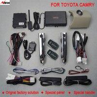 Авто вход без ключа кнопка старт с умным ручкой разблокировать дистанционного запуска сигнализация для Toyota Camry