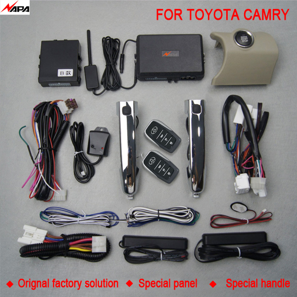 Car auto keyless entry push start with smart handle unlock remote start alarm system for toyota camry