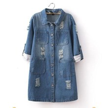 2019 Fashion Spring Women Roll Up Three Quarter Sleeve Jeans Jacket Casual Outerwear Ripped Long Sleeve Plus Size Denim Jacket roll up hem ripped denim overalls