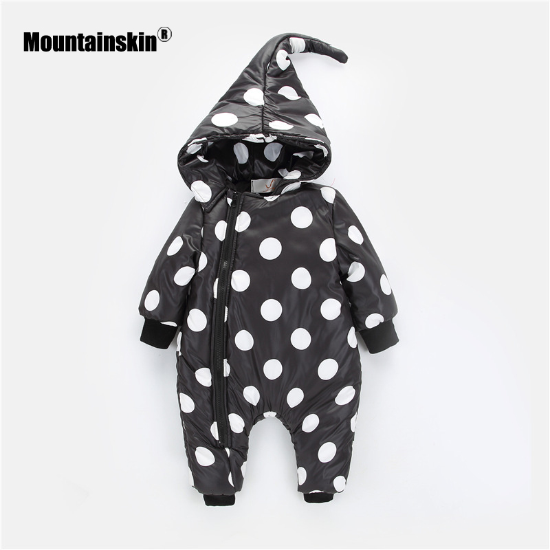 Mountainskin 2018 Winter Autumn Spring Baby Boys Girls Rompers Kids Overalls Children Suit Thick Warm Hooded Outwear 6-24M SC890