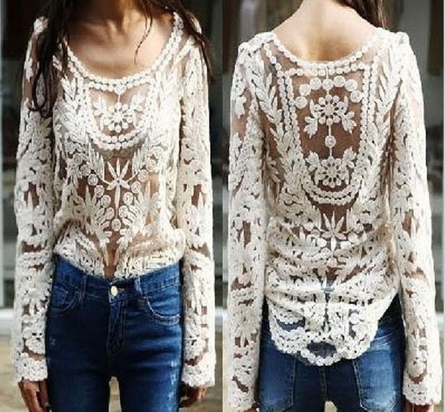 White Lace Crochet Women Blouses Blusas Femininas 2015 Women's Semi Sheer Lace Blusas Sheer Summer Style Beachwear Women Tops