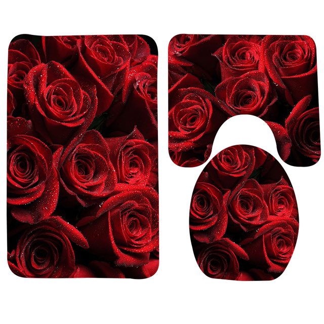 3pcs Anti Slip Bathroom Rug Set Roses Red Drops Petals Pattern Bath