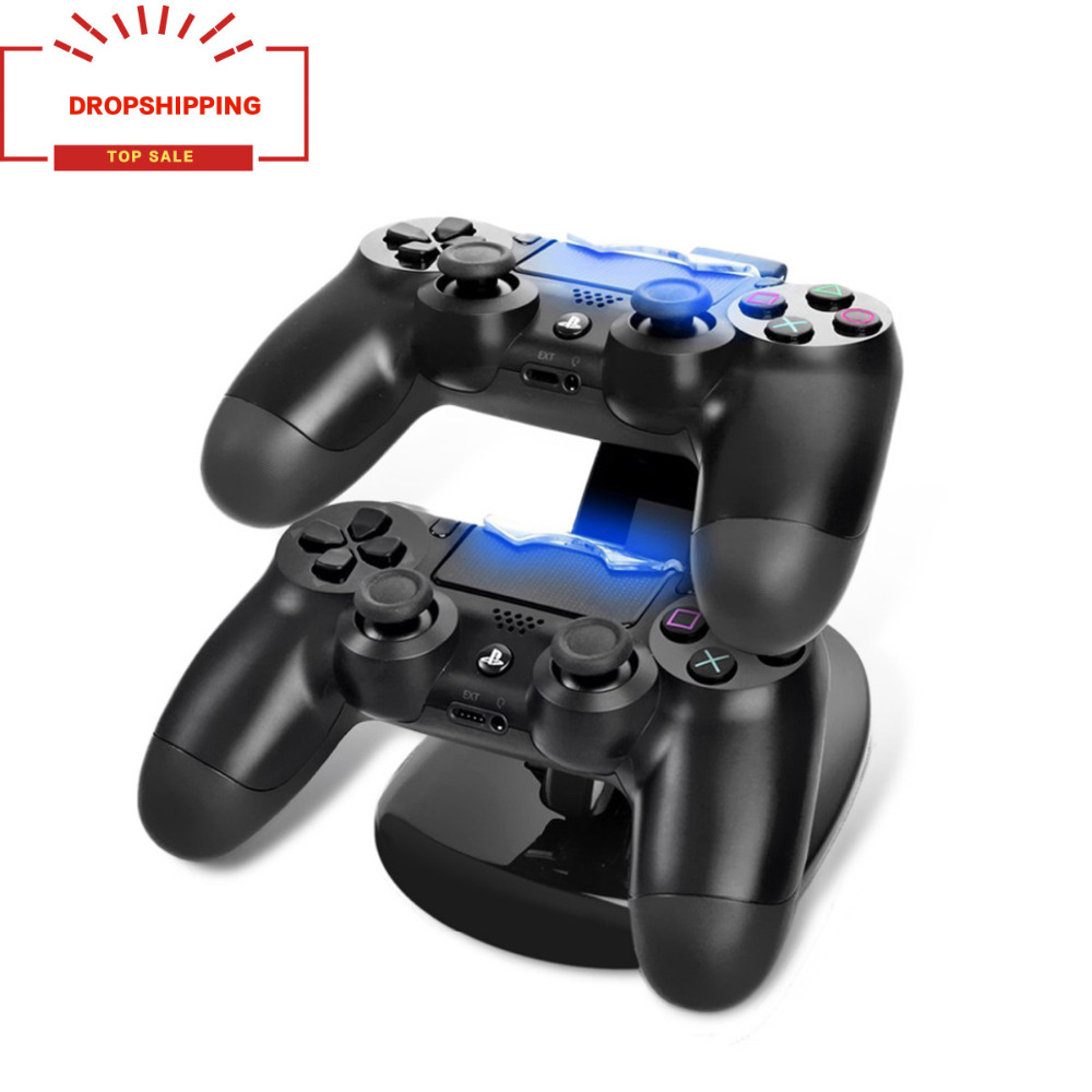 Dropshipping USB Dual Gamepad Charger Controller Game Controller Power Supply Charging Station Stand For Sony Playstation 4 PS4Dropshipping USB Dual Gamepad Charger Controller Game Controller Power Supply Charging Station Stand For Sony Playstation 4 PS4