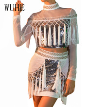 WUHE Women Sexy Two Piece Sets See Through Mesh Sequined Dress Long Sleeve White Tassel Pencil Dress Night Club Party Wear все цены