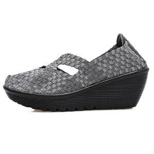 Image 3 - STQ 2020 Autumn Women Platform Shoes Women Slip On Casual Hand Made Woven Shoes Wedge Sandals Shoes Women Footwear Shoes 833