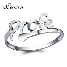Fashion Stainless Steel Love Profe Cuff Rings For Women Men Fine Jewelry Birthday Gift Open Prof Ring Silver Color anillos mujer