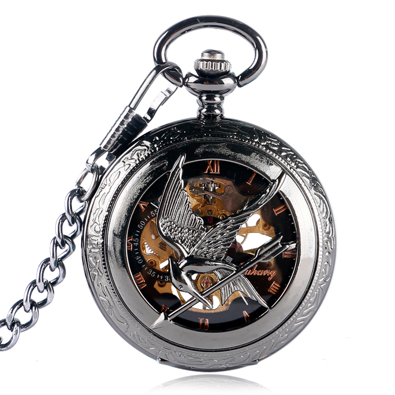 High-end Manual Mechanical Pocket Watch Movie Hunger Game Ridicule Bird Hollow Out Black Roman Literal Pocket Watches Necklace
