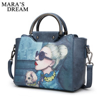 Mara S Dream 2018 Oil Picture Pattern Women Bag Fashion PU Leather Women Leather Handbag Casual