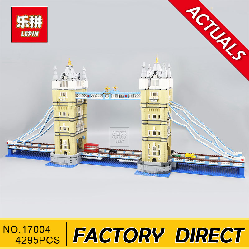 Lepin 17004 4295Pcs Creator Expert London Tower Bridge Model Building Blocks BricksToys Gift Compatible 10214 in stock new lepin 17004 city street series london bridge model building kits assembling brick toys compatible 10214