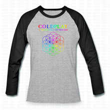 Coldplay T-shirt Männer Ralgan Sleeve Lustige Metall Rock Print O Neck Casual Shirts T Hip Hop Ein Kopf Voller Träume Buchstaben T-Shirt