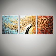 Large 3 piece wall art decor tree abstract knife acrylic painting oil canvas floral painting for sale picture for kitchen office