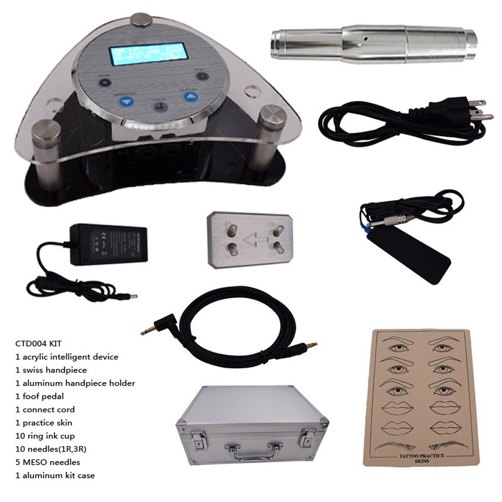 2017 High quality Digital Intelligent Permanent Makeup eyebrow lip machine Kit swiss motor gun + power supply + needles Hot Sale hot sale digital permanent makeup pen machine high quality professional for eyebrow lip swiss motor tattoo gun