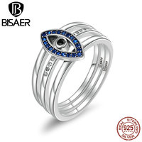 Genuine 925 Sterling Silver Blue Wicked Eye Finger Rings Women Fashion S925 Wedding Jewelry Lucky Christmas