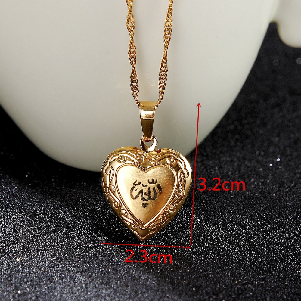 Image 2 - Heart allah pendant Jewelry For Women 24K Gold Color Muslim Heart