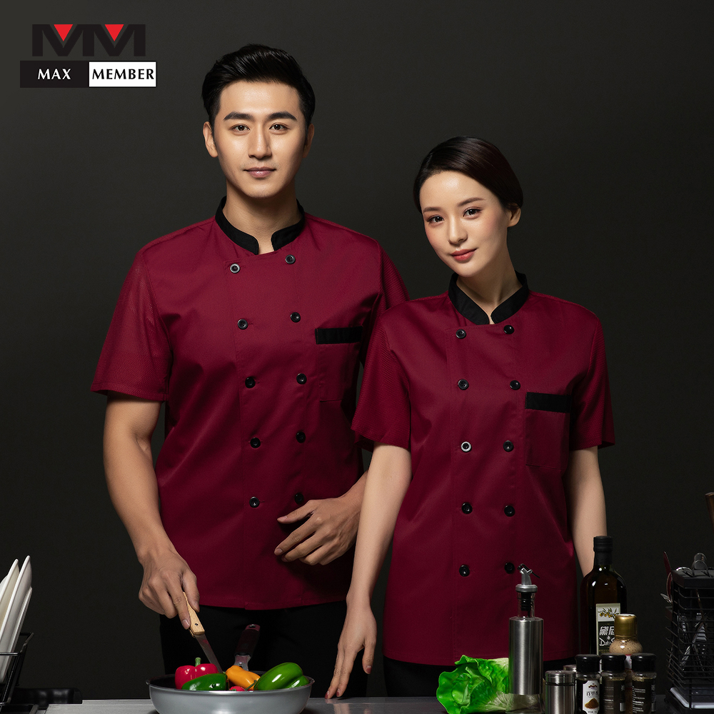 Chef Restaurant Uniform Cool Mesh Short Sleeve Cook Jacket Waiter Waitress Koks Kleding Cafe Shop Bakery Summer Work Clothes