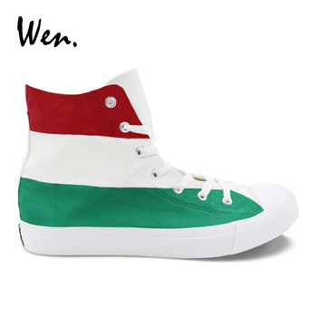 Wen Custom Hand Painted Shoes Hungary Flag Design Canvas Sneakers High Top Cross Straps Espadrilles Flats Plimsolls Zapatillas