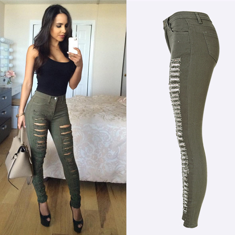 af35f8e855 Olrain Women's Destroyed Ripped Army Green High Waisted Denim Skinny ...