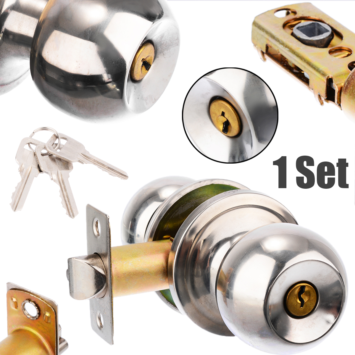 Mayitr Stainless Steel Round Ball Privacy Door Knob Set Bathroom Handle Lock With Key For Home Door Hardware SuppliesMayitr Stainless Steel Round Ball Privacy Door Knob Set Bathroom Handle Lock With Key For Home Door Hardware Supplies