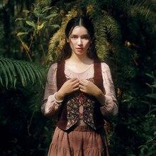 Линетт китайский стиль весна осень дизайн для женщин Мори девочек деревенский принт лоскутное вельветовый жилет верхняя одежда