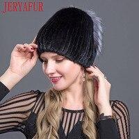 JERYAFUR 2018 New style winter Russian woman's natural fur hat mink fur fox making rhinestone decoration free send ski hat