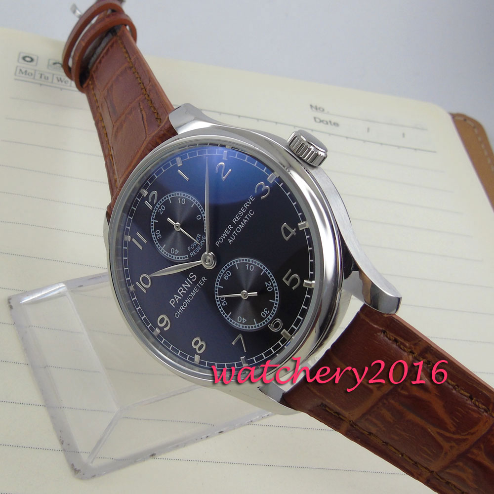43mm black dial brown Leather Strap automatic mechanical movement watch power reserve Automatic Business Men's Watch automatic spanish snacks automatic latin fruit machines