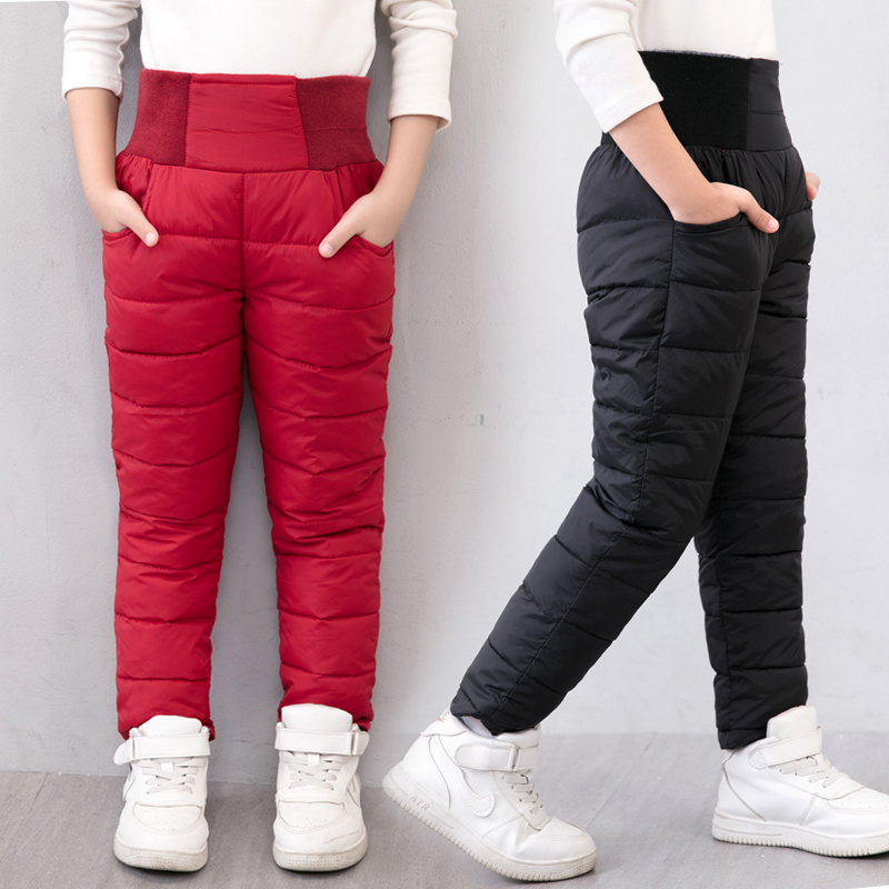 Casual Girl Boy Winter Pants Cotton Padded Thick Warm Trousers Waterproof Ski Pants 10 Years Elastic High Waisted Baby Kid Pant