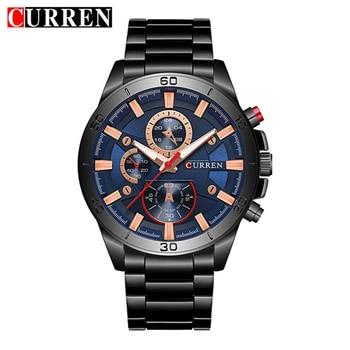 Mens Watches Curren Brand Luxury Gold Black Steel Quartz Watch Men Fashion Casual Business Wristwatches Relogio Masculino 8275 дамски часовници розово злато