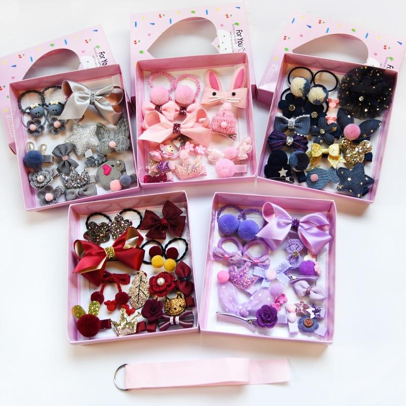 Kdis Baby Girls  Set Cute Girl Gift Box Rubber Band Hairpin Duckbill Clip Ribbon Pretty Princess Praty Hair Accessories 18PCS