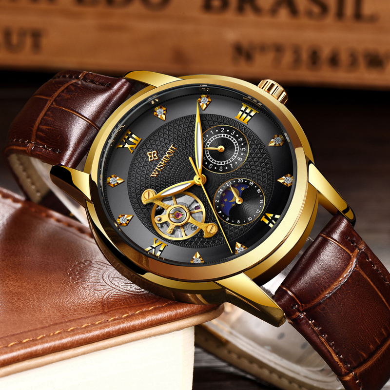 WISHDOIT Top Brand Leather Skeleton Automatic Mechanical Watch Men Fashion Sports Wristwatch Relogio Masculino Erkek Kol Staati in Mechanical Watches from Watches